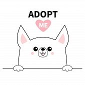 Chihuahua dog head face. Hands paw holding line. Adopt me. Help homeless animal Pet adoption. Pink heart. Cute cartoon puppy character. Funny baby pooch. Flat design. White background Vector poster