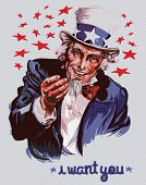 Smiling Uncle Sam (removable text) poster