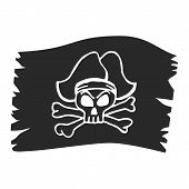 Jolly Roger skull, pirate skull on a black flag. Piracy symbols of captain skull poster