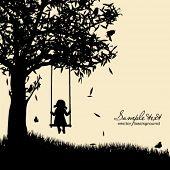 Vector silhouette of girl on swing poster