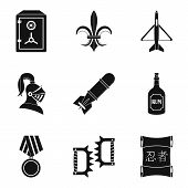 Ordnance icons set. Simple set of 9 ordnance icons for web isolated on white background poster