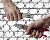 Dirty workman hand hold a pliers(pincer) on both side isolated on barb wire background poster