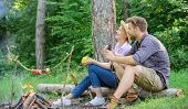 Couple relaxing sit on log having snacks. Family enjoy romantic weekend in nature. Pleasant picnic or romantic date nature background. Couple romantic date near bonfire in forest. Hike picnic date poster