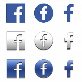 Letter F 3d Icons. Social Media Icon Set. Facebook Icon. Facebook Logo Vector Illustration.