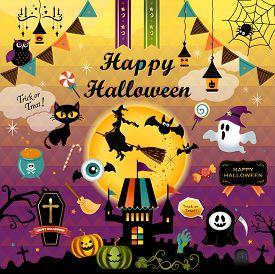 Happy Halloween Design Elements Set. Halloween Design Icons, Elements, And Objects. Vector Illustrat