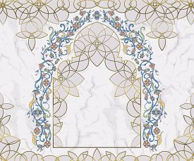 Arabic Floral Arch. Traditional Islamic Ornament On White Marble Background. Mosque Decoration Desig