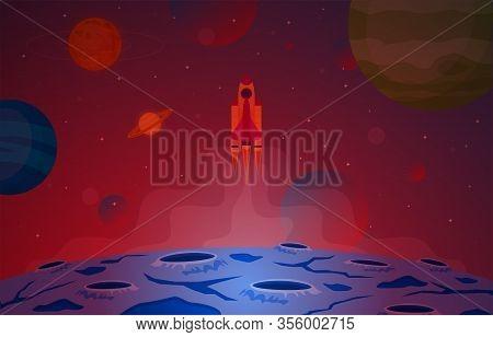 Spaceship Spacecraft Explore Planet Sky Space Science Fiction Fantasy Illustration