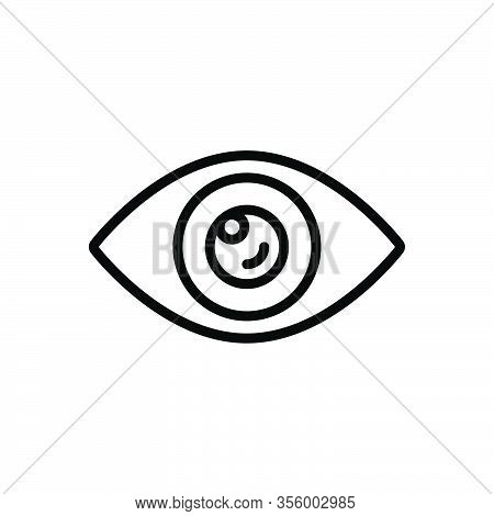 Black Line Icon For Visible Sight View Vision Eyeball Lens Optical Look Watch Eyesight Peep