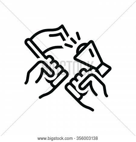 Black Line Icon For Activist Militant Protester Radical Powerbroker Strike Hand Against