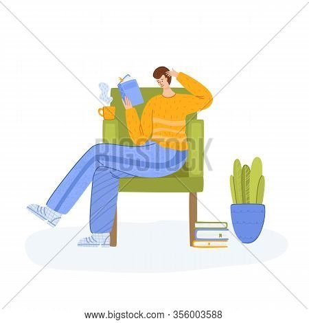 Man Reading Book Sitting In Chair, Student Read And Study, Literature Fans Or Lovers Concept, Modern