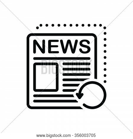 Black Line Icon For Recent Fresh Neoteric Nowaday Paper Tidings Reports  Datum Newspaper Magazine
