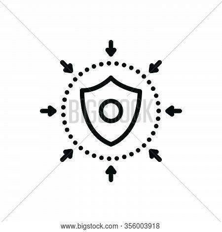 Black Line Icon For Defense Safeguard Defensive Shield Escutcheon Hillside Downgrade