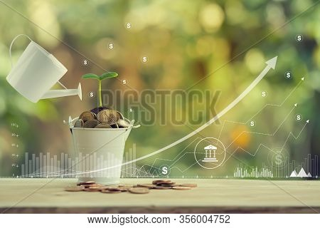 Banking And Finance, Saving Money For Future Growth Concept: Pours Water From A Watering Can, Green