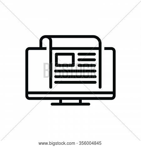 Black Line Icon For News Story Newscast Headlines Tittle-tattle Rumour Tidings Scuttlebutt Bulletin