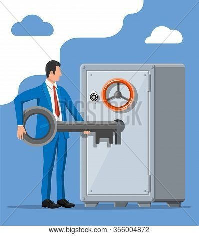 Businessman With Key Near Vault Room Safe Door. Open Or Access To Bank Account. Bank Security, Capit
