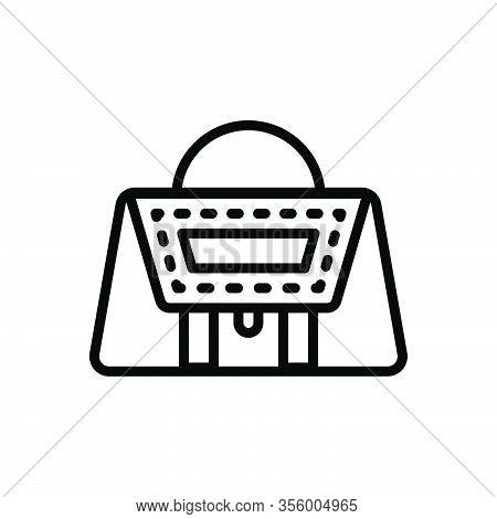 Black Line Icon For Leather Purse Handbag Accessory Elegance Stylish Woman Costly Buff Pelt Membrane