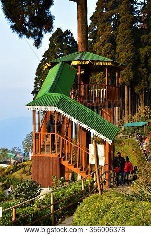 Lamahata , Darjeeling, West Bengal, India- December 26, 2019: Kanchenjunga Mountain Watchtower Visit
