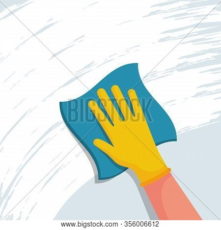 Cleaning Napkin In The Hands Of A Houseworker. Cleaning Window. Wipe With A Cloth, Blue Microfiber,