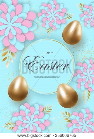 Happy Easter, easter bunny, easter background, easter banners, easter flyer, easter design,easter with flowers on red background, Copy space text area, vector illustration. Easter eggs on blue background.Happy Easter greeting web banner. Promotion and sho
