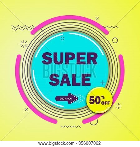 Super sale banner.Vector illustration. Discount 50 Sale tags set vector badges template. Sales Vector badges for Labels, percent sale label symbols, Tags, Web Stickers, Discount origami sign banner, Sale and discount labels, Price off tag icon