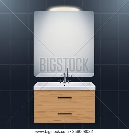 Washbasin Cabinet With Rectangle Mirror And Backlight. Dark Domestic Bathroom Interior. White Porcel