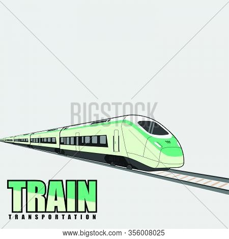 High Speed Commuter Train Vector Illustration, Commuter Train Template Design