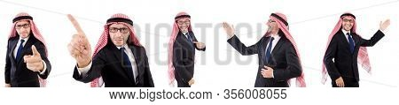 Threatening arab man in specs isolated on white