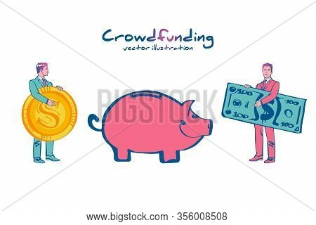 Landing Page Crowdfunding. Business Model Funding Project. Crowd Funding. Teamwork. Businessmen Put