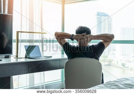 Life-work Balance And City Living Life Style Concept Of Business Man Relaxing, Take It Easy In Offic
