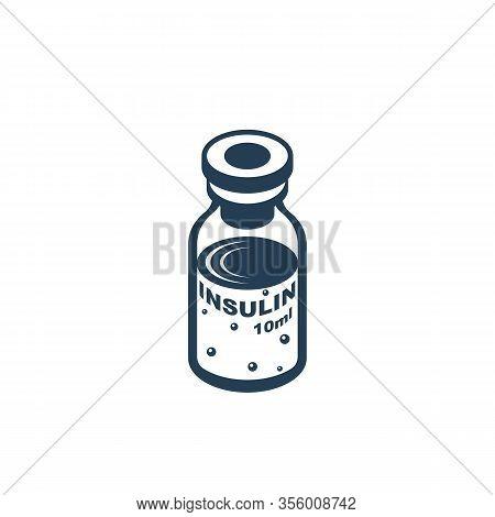 Insulin Ampoule Glyph Icon. Black Silhouette Medical Vaccine. Bottle Of Solution. Vector Illustratio