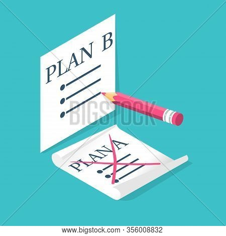 Plan A Failed Go To B. Passes To Second Plan. Vector Illustration Isometric 3d Design. Isolated On B