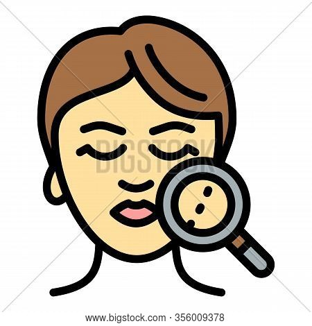 Lifting Facial Magnifier Icon. Outline Lifting Facial Magnifier Vector Icon For Web Design Isolated
