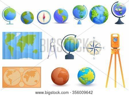 Cartographer Icons Set. Cartoon Set Of Cartographer Vector Icons For Web Design