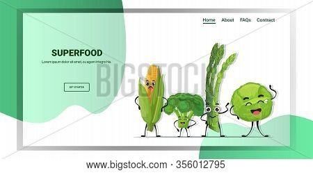 Cute Fresh Corn Cabbage Asparagus And Cabbage Characters Standing Together Tasty Mascot Vegetable Pe