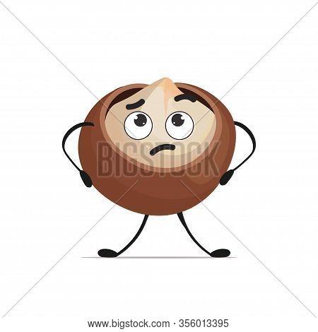 Cute Macadamia Character Cartoon Mascot Nut Personage Healthy Vegetarian Food Concept Isolated Vecto
