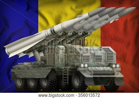 Tactical Short Range Ballistic Missile With Arctic Camouflage On The Moldova Flag Background. 3d Ill