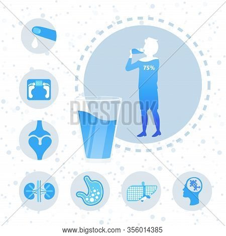 Water Balance In Human Body Organs Poster With Boy Teenager Silhouette Drinking Water Benefit Infogr