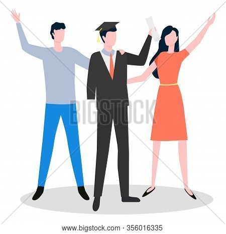 Graduation Of Disabled Student With Amputated Hand Standing Near Man And Woman Waving Hands. Arm Amp