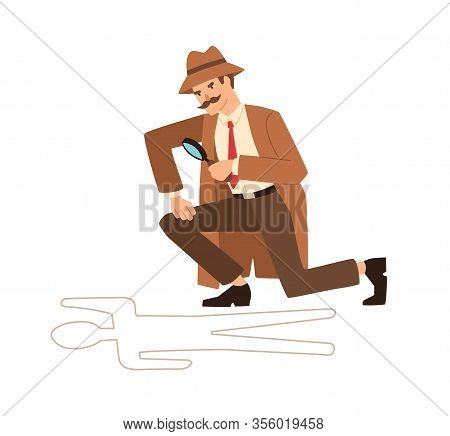 Private Detective Look Through Magnifying Glass At Crime Scene Vector Flat Illustration. Professiona