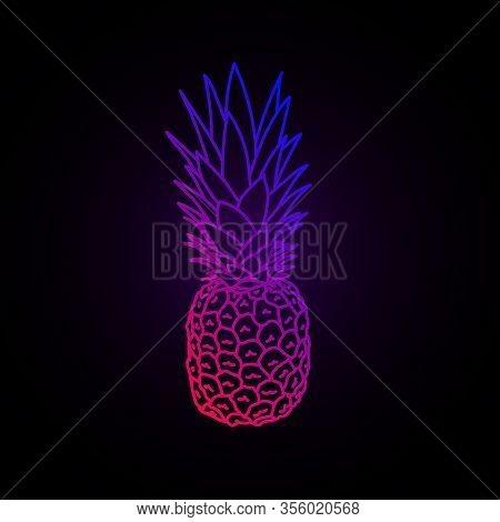 Synthwave Vaporwave Retrowave Neon Vivid Color Vector Pineapple On Dark Background. Design For Poste
