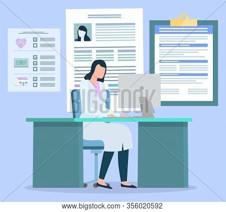 Doctor Work On Computer At Hospital. Woman Look At Patient Medical History, Cards. Practitioner Iden
