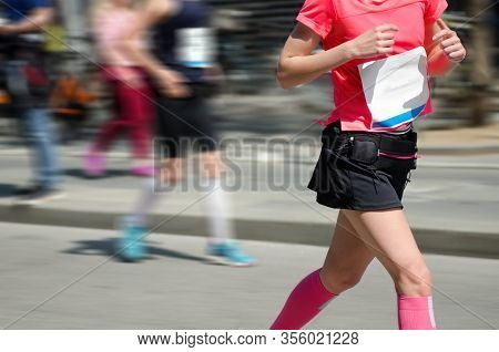 Marathon Running Race, Woman Runner On Road Racing, Run Sport Competition, Fitness And Healthy Lifes