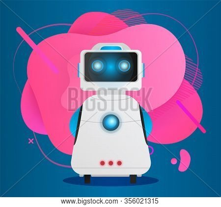 Cyborg With Abstract Blot On Background. Chat Bot With Ai, Humanoid With Monitor And Face. Cyberspac