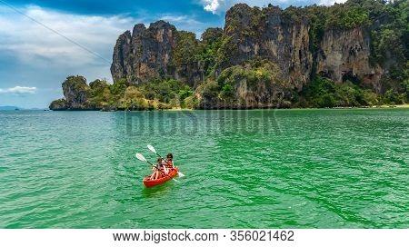 Family Kayaking, Mother And Daughter Paddling In Kayak On Tropical Sea Canoe Tour Near Islands, Havi
