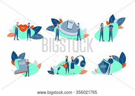 Health, Safety, Environment Set Concept. Young Men Women Demonstrate Helmet, Shield, Boot And Heart