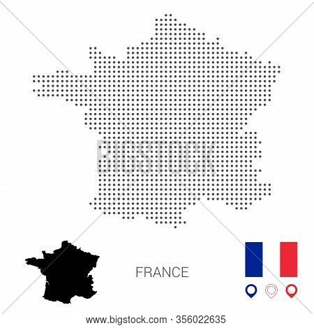 Dotted Vector Map Of France. Round Gray Spots. France Map With National Flag And Map Icons. Black Si