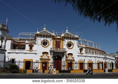 Seville, Spain - July 14, 2011:seville Real Maestranza Bullring Plaza Toros De Sevilla In Andalusia