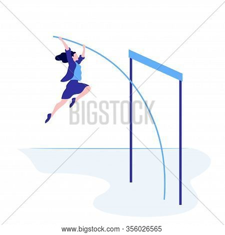 Successful Business Female Overcome Jump Up Vector