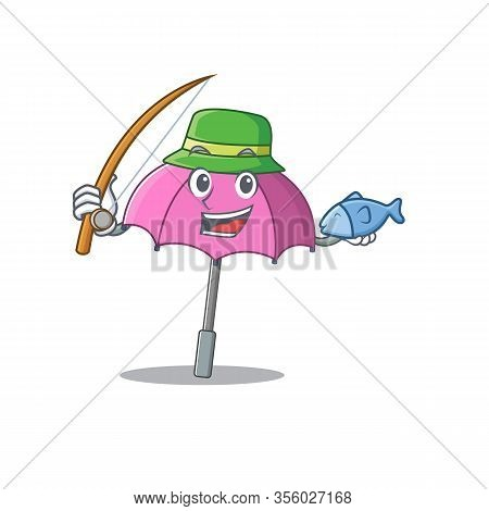 A Picture Of Funny Fishing Pink Umbrella Design