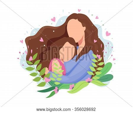 Vector Illustration Happy Mothers Day. Beautiful Mother With Her Cute Child, Mom Hugging Her Daughte